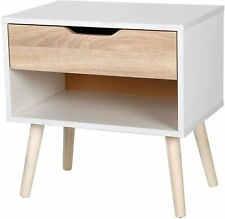 Home Bedside Table Scandinavian Nordic Style White And Oak Effect Night Stand