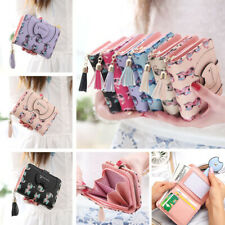 Cute Cat Women Short Wallet Leather Lady Small Coin Card Holder Money Purse Gift
