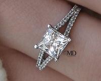 Valentine's 1 CT DIAMOND ENGAGEMENT RING PRINCESS D/VS 14K WHITE GOLD ENHANCED
