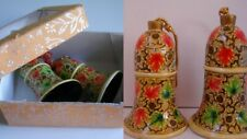 Hand Made Kashmir India Painted Gold Paper Mache Bell Ornament Set in Box