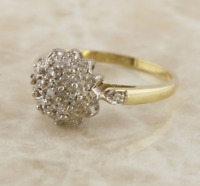 Diamond Cluster Ring 9ct Yellow Gold Size M