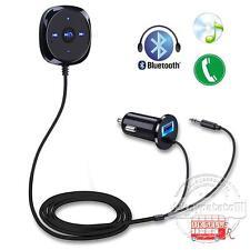 3.5mm Car Bluetooth Kit Audio Receiver Cigarette Lighter USB Charger AUX MP3 UK