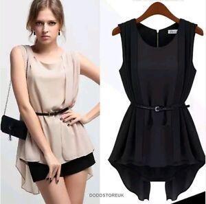 New Elegant Blouse Women  Sleeveless Asymmetric Ladies Summer Blouse + Belt