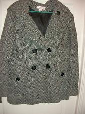 Womens JLO J Lo Jennifer Lopez Lined 52% Wool Hooded Tweed Coat Jacket L Large