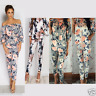 Womens Ladies Megan McKenna Floral Print Off Shoulder Tracksuit Set Lounge Wear