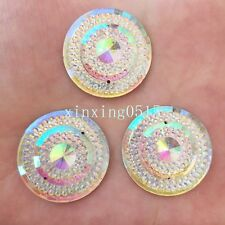 DIY 6PCS 25mm AB Resin round flatback Rhinestone Wedding 2 hole buttons/white