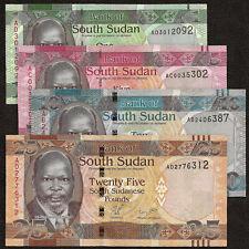 SOUTH SUDAN 1 5 10 25 Pounds SET 4 PCS 2011 P-5 6 7 8 UNC Uncirculated