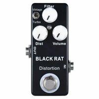 Mosky Noir RAT pedale d'effet de distorsion de mini guitare H7S1 V5