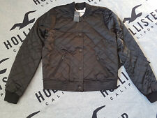 New Women's HOLLISTER Quilted Bomber Jacket Size S Black