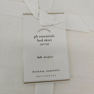 """Pottery Barn PB Essential Cotton Linen Bed Skirt 18"""" Drop FULL Off White Ivory"""