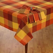 "Harvest Thanksgiving & Fall Plaid Tablecloth Shimmer Block Cotton 60""x 84"" Oval"