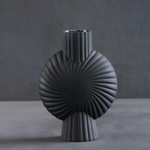 Shelley Vase Frosted Black Glass 25 x 8.5 x 18.5 cm Kitchen Lounge Art Deco