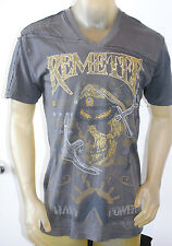 NEW REMETEE by AFFLICTION mens NAVY POWER graphic embroidered Vneck Tee *LARGE
