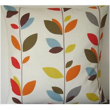 "24"" Cushion Cover Stem Leaves Orange Mustard Red Blue Green Brown Leaf Large"