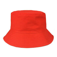 Childrens Red Bush Hat Boys Girl Cotton Summer Sun Bucket Cap Plain Kids