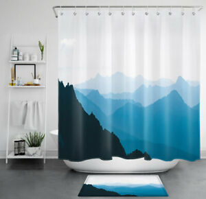Abstract Mountains Landscape Blue Forest Waterproof Fabric Shower Curtain Set