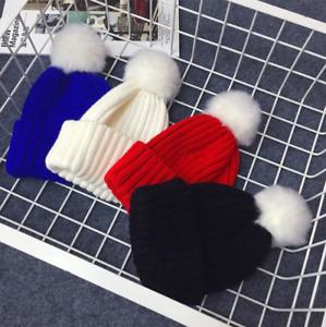 Kids Baby Boys Girls Winter Knitted Beanie Ski Hat Faux Fur with Bobble Pom Pom