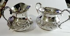 """Stieff """"Repousse'"""" Sterling Silver Hand Chased Cream & Sugar Set No Monogram"""