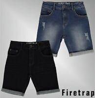 Boys Branded Firetrap Belt Loops Zip Fly Turned Up Hem Denim Shorts Age 4-13 Yrs
