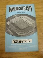 07/10/1961 Manchester City v Cardiff City  (rusty staple, folded, marked). Thank