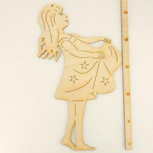 Sterntaler, Sterntalermädchen zum Bemalen 27 cm aus Holz mit Loch Weihnachtsdeko
