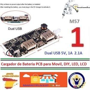 Dual USB 5V 1A 2.1 Cargador de Batería PCB  DIY, LED, LCD  Power Bank 18650  M57
