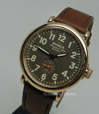 Men Ladies Unisex American Detroit Made & Swiss Shinola Runwell 41mm Gold Watch