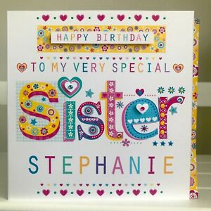 Sister birthday card, Personalised Special Sister birthday card SISTER BIRTHDAY