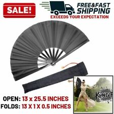 Large Folding Hand Fan Chinese Japanese Kung Fu Tai Chi Style Handheld Fabric