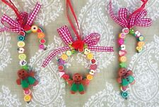 3 GINGERBREAD MEN Christmas Tree decorations.1 fruit wreath 2 candy fruit canes.