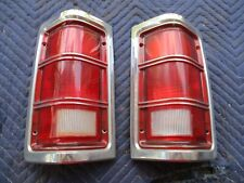 81-88 DODGE RAMCHARGER W100 D150 LEFT RIGHT TAIL LIGHTS W/ CHROME TRIM NICE OEM