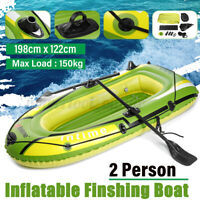2 Person PVC Inflatable Fishing Rowing Boat Dinghy Kayak Raft & Paddle Oars Pump