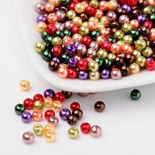 Pearlized Glass Pearl Beads Mixed Color Jewelry Craft 4mm Hole 1mm 400pcs/bag