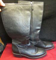 L.L. Bean Women's Black Leather Zipper Calf Boots, Size 7 Med