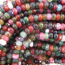"6mm faceted watermelon tourmaline agate rondelle beads 15"" strand"