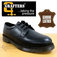 GRAFTERS MEN'S BLACK SMOOTH LEATHER OXFORD CADET SHOES SMART DRESS SHOES