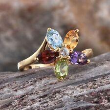 """Multi-diseño floral de piedras preciosas"""" """"plata esterlina 925 Anillo 14K Oro Y. superposición."""