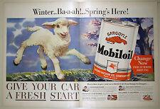 Vintage 1941 MOBIL GAS & OIL Lg 2-Page Magazine Print Ad - Socony-Vacuum SPRING
