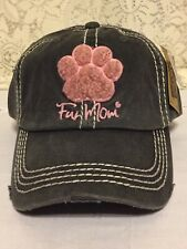 df60ec2cc36744 Fur Mom Embroidered Factory Distressed Women Baseball Cap Black Hat