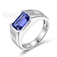 Hot! 18K White Gold Diamonds 3.19ct Tanzanite Engagement Ring Men Jewelry Sets