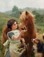 CHENPAT597 handing flower little girl feeding horse&dog oil painting art canvas