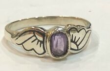 Sterling Silver Niello Purple Amethyst Wing Mount Ring Size Q