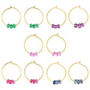 Huggie Earrings 18k Yellow Gold Natural Gemstone Hoop/Huggies earrings Fashion