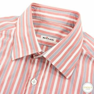 Kiton Pink Grey White Cotton Striped MOP Spread Collar Dress Shirt 43EU/17US