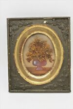 Antique 19th C Framed Miniature Watercolor Vase w/ Dried Grass Flowers