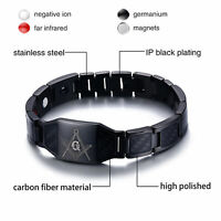 4 in 1 Free Mason Magnetfeldtherapie Gesundheit Armband Carbon Fiber Edelstahl