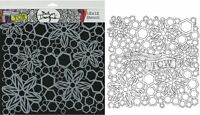 """The Crafter's Workshop Set of 2 Stencils Hex Flowers 12x12"""" Large & 6x6"""" Mini"""