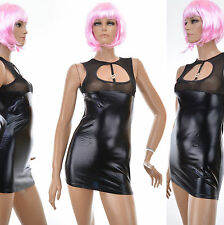 ROBE Femme MINI ULTRA SEXY Chic STRING SIMILI CUIR VINYL WETLOOK 36 38 40 WANDA