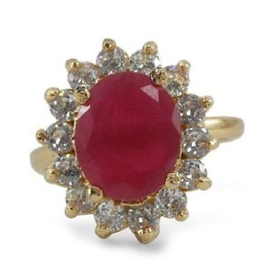 0.81CT NATURAL ROUND DIAMOND 14K YELLOW GOLD RUBY GEMSTONE CLUSTER RING SIZE 7