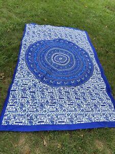 "MEXICALI BLUES ELEPHANT MANDALA TAPESTRY / TABLE LINEN 87""X56"" BLUE & WHITE"